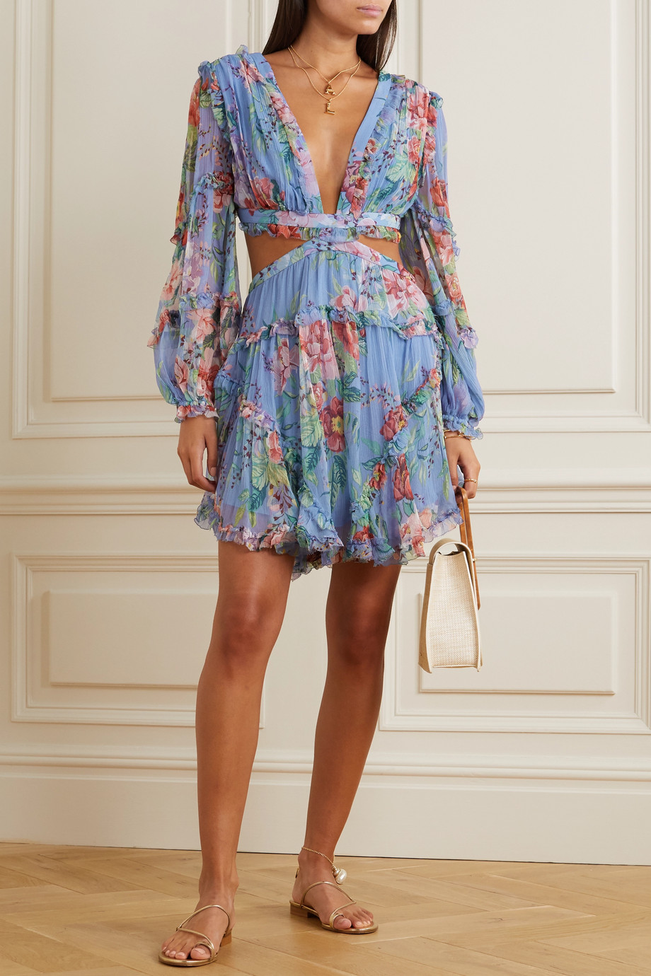 Zimmermann Bellitude cutout floral-print silk-crepon mini dress