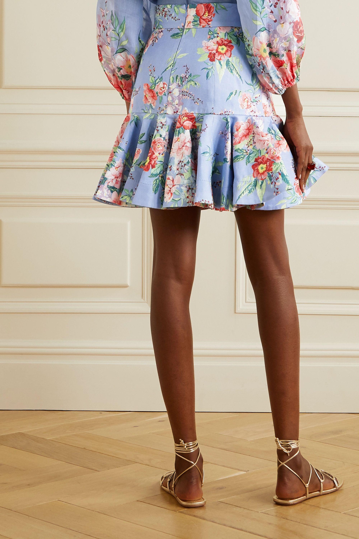 Zimmermann Mini-jupe en lin à imprimé fleuri et à godets Bellitude