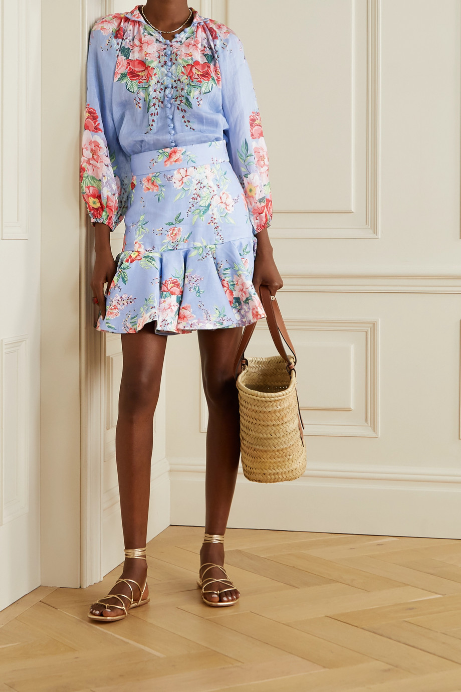 Zimmermann Bellitude fluted floral-print linen mini skirt