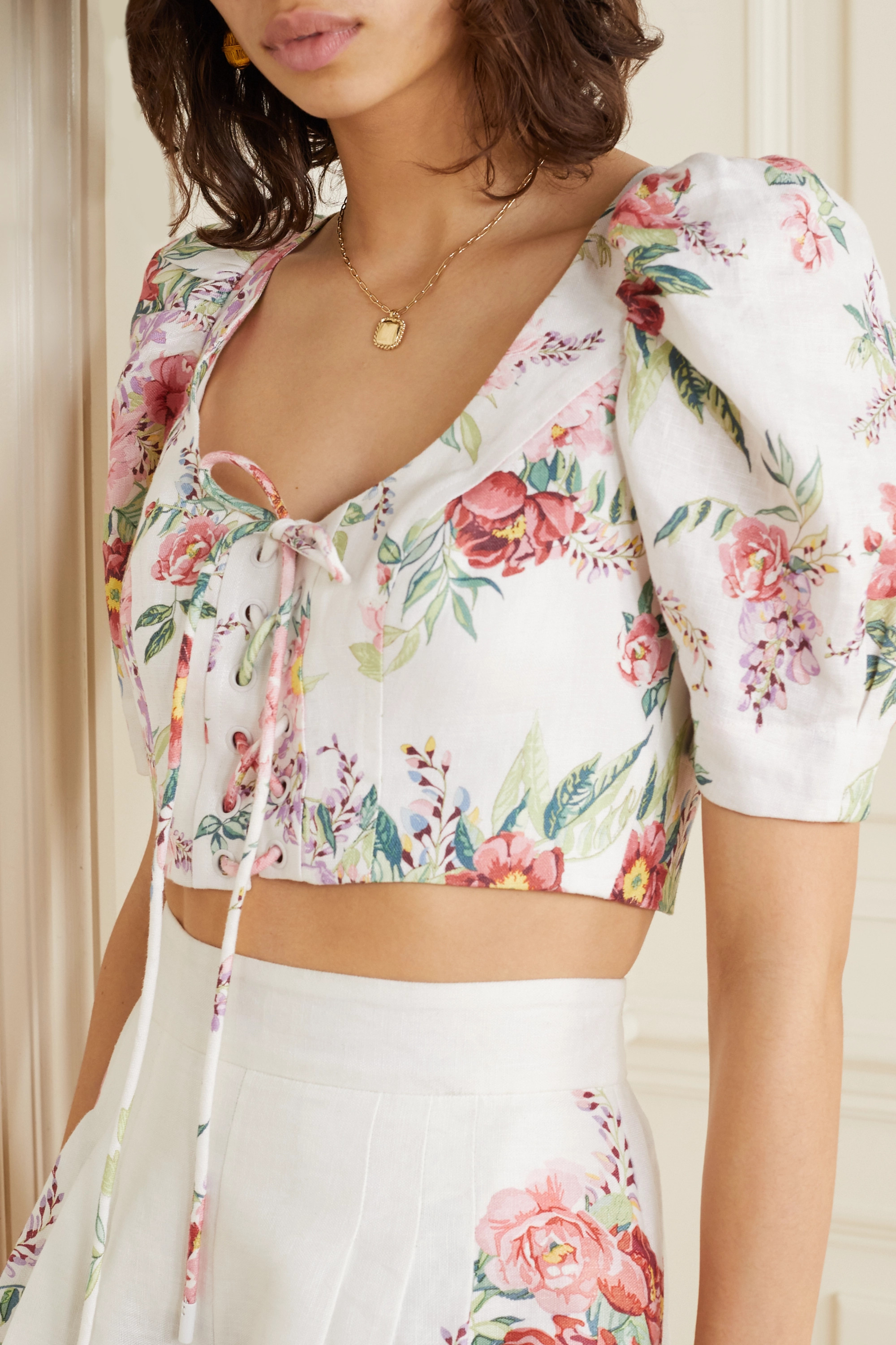 Zimmermann Bellitude cropped lace-up floral-print linen top