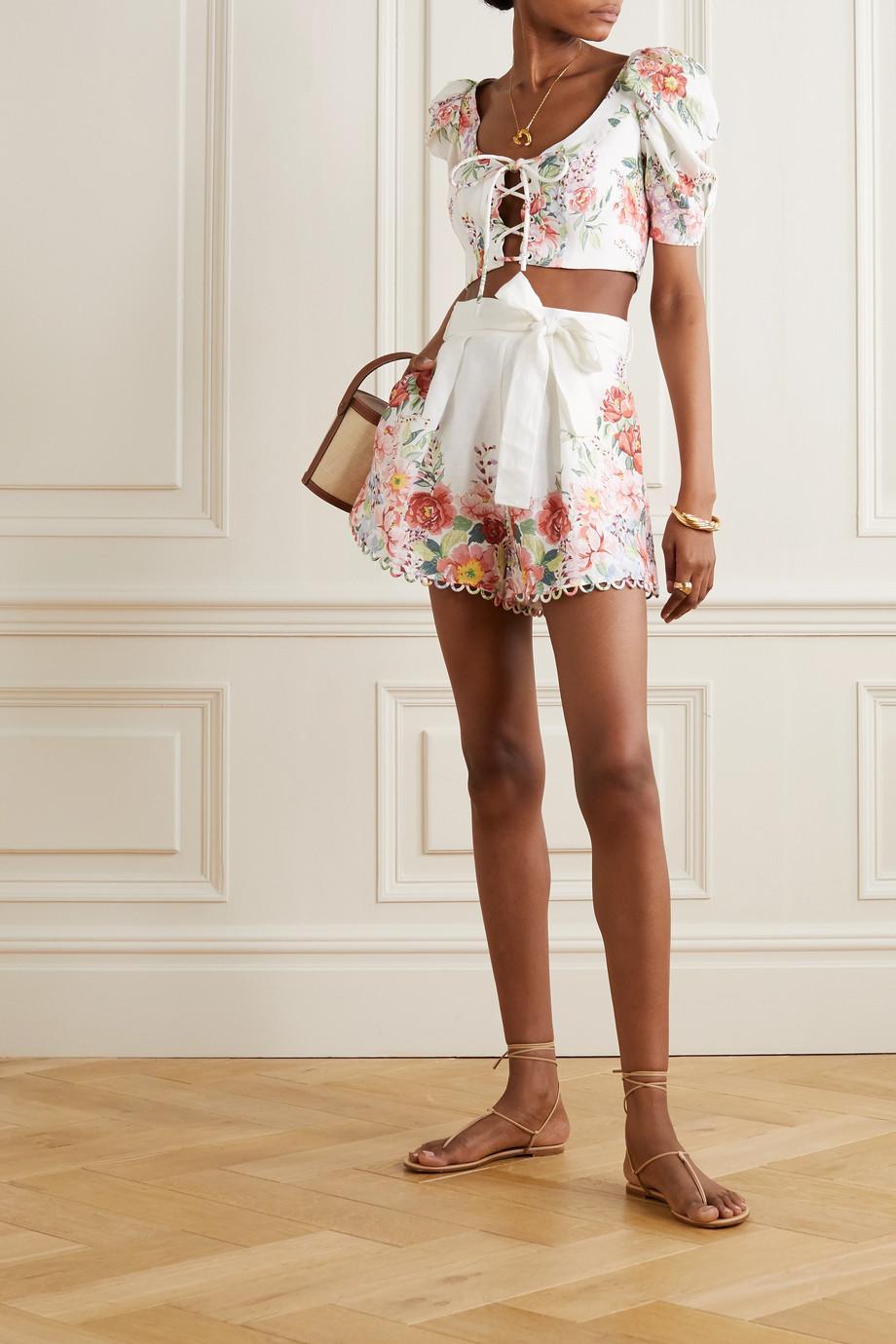 Zimmermann Bellitude Shorts aus Leinen mit Blumenprint
