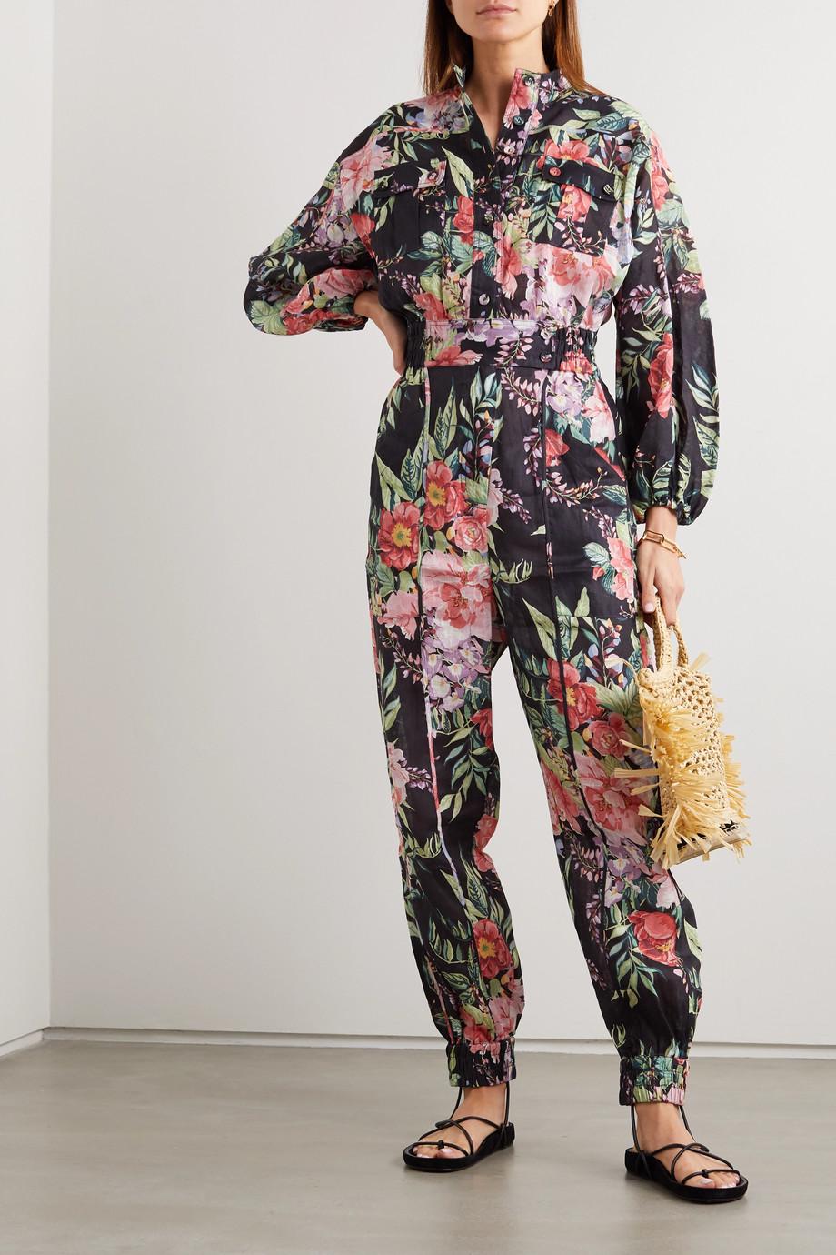 Zimmermann Bellitude Jumpsuit aus Leinen mit Blumenprint