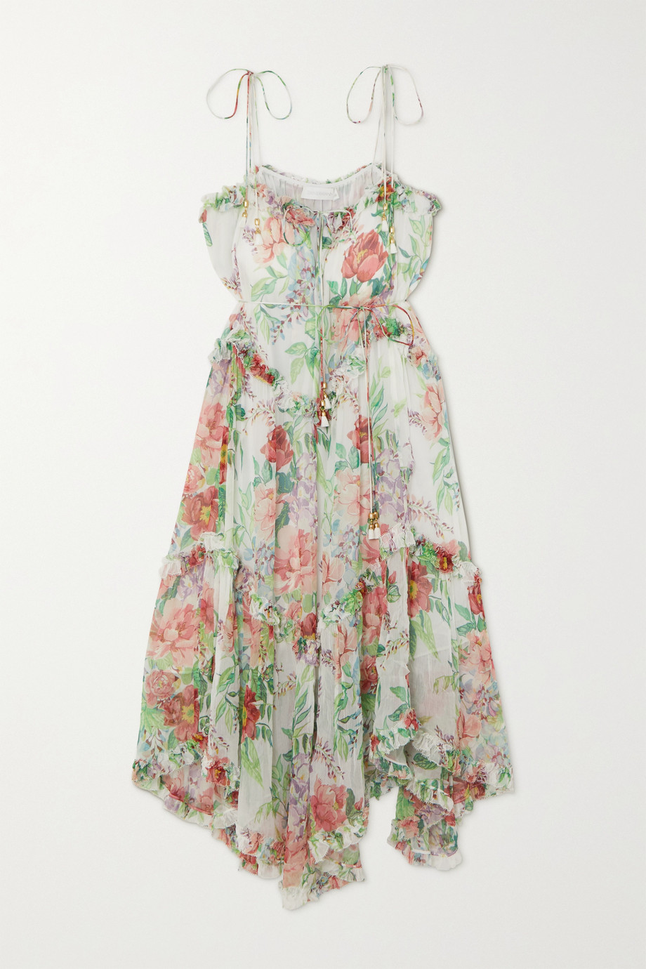 Zimmermann Bellitude tasseled ruffle-trimmed silk-crepon midi dress