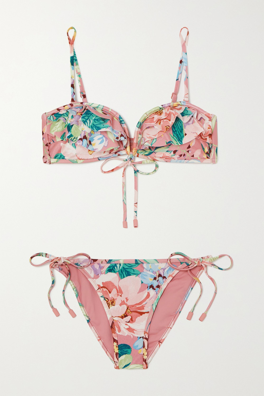 Zimmermann Bellitude ruffled floral-print bikini