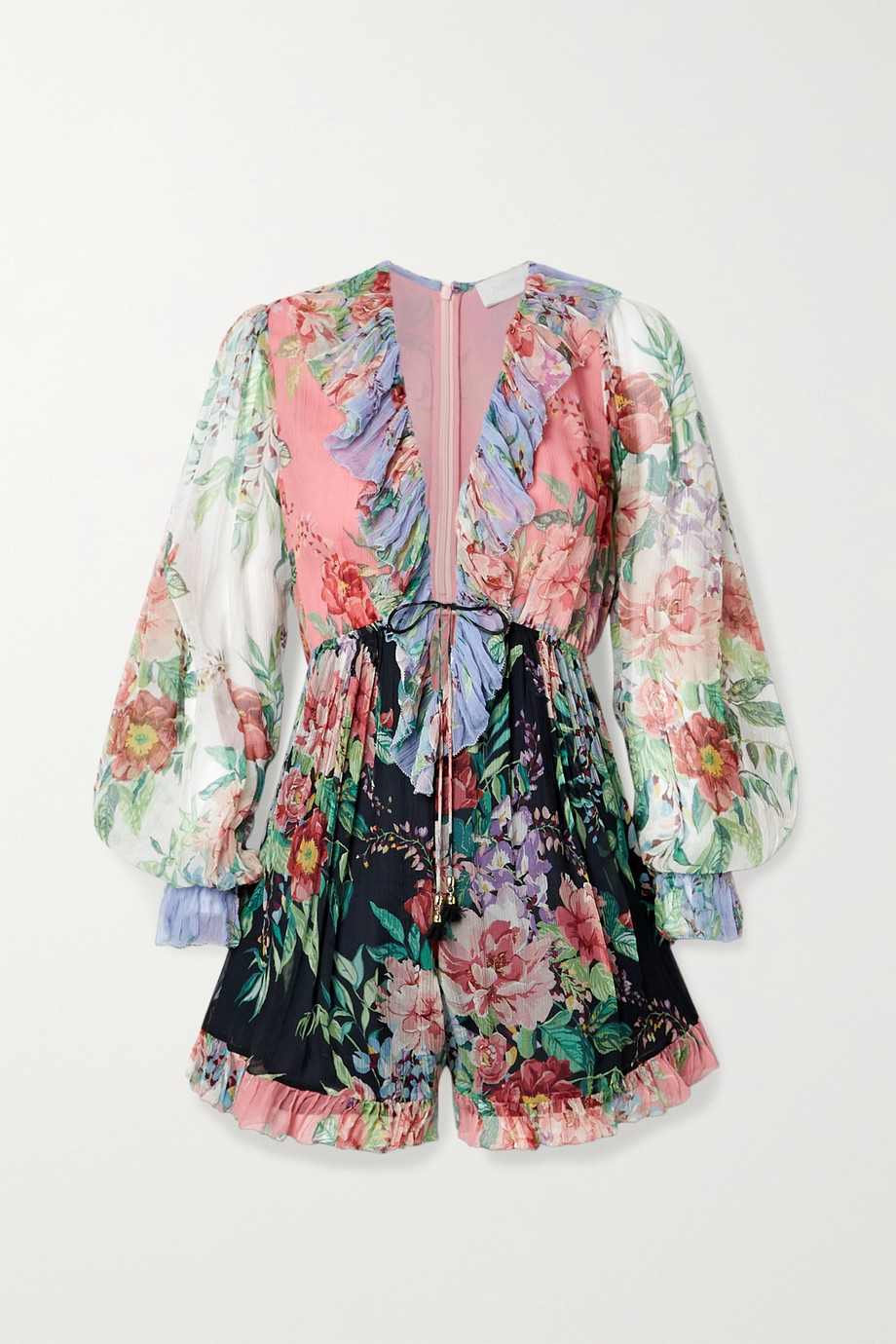 Zimmermann Bellitude ruffled patchwork floral-print silk-crepon playsuit
