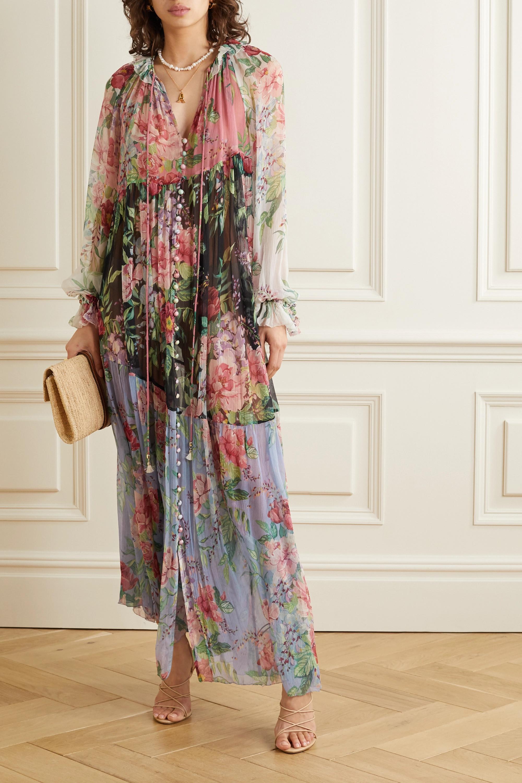 Zimmermann Robe longue en georgette de soie à imprimé fleuri Bellitude