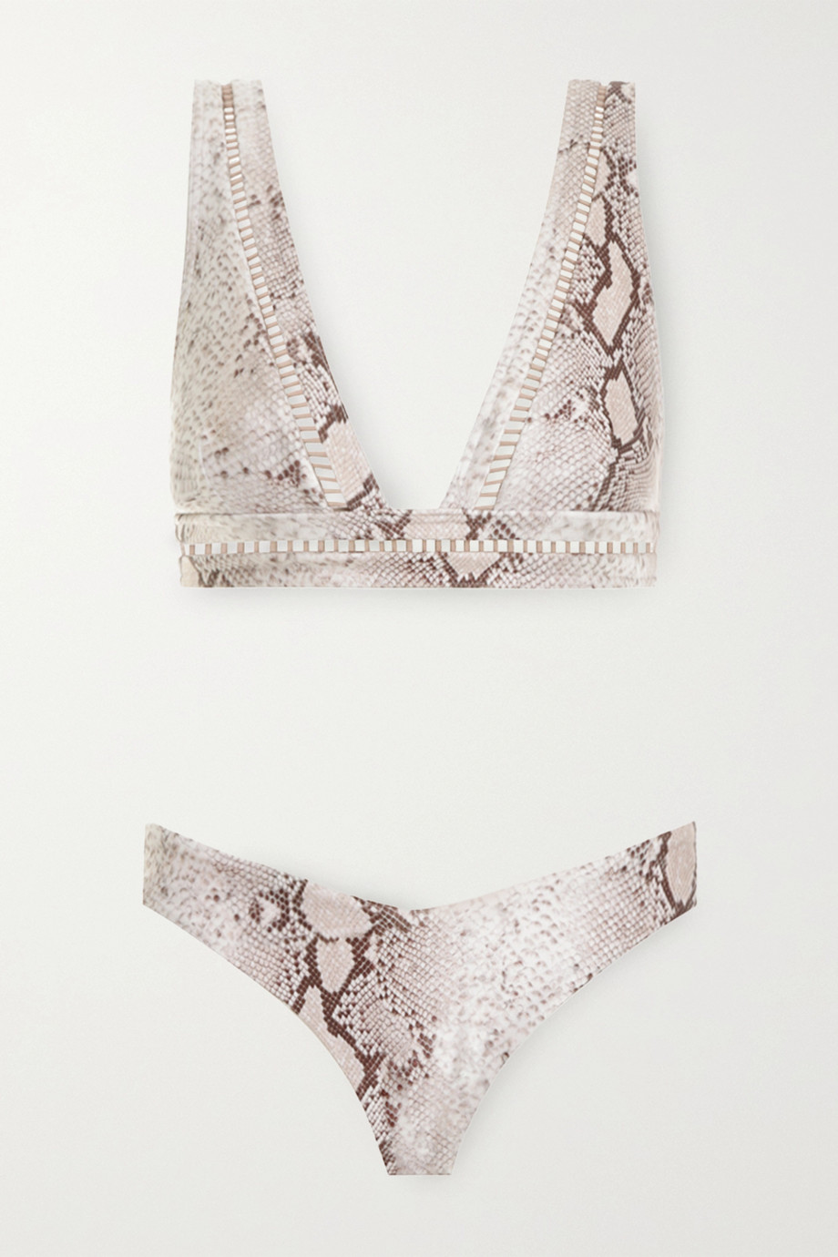 Zimmermann Bellitude lattice-trimmed snake-print bikini
