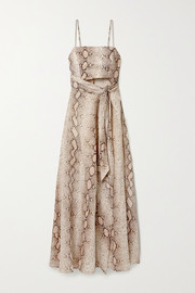Zimmermann Bellitude cutout snake-print linen midi dress