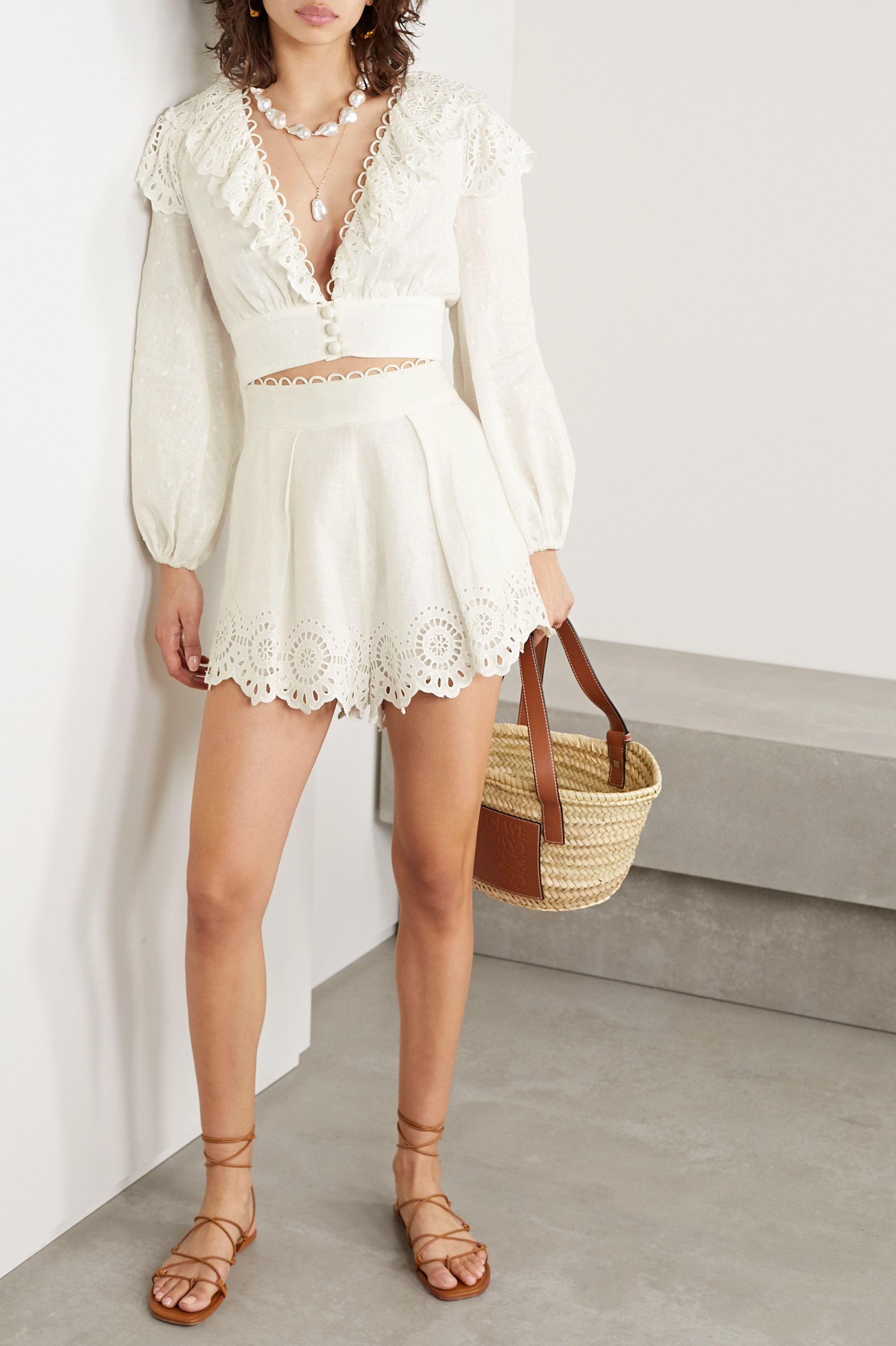 Zimmermann Bellitude cropped broderie anglaise-trimmed Swiss-dot linen top