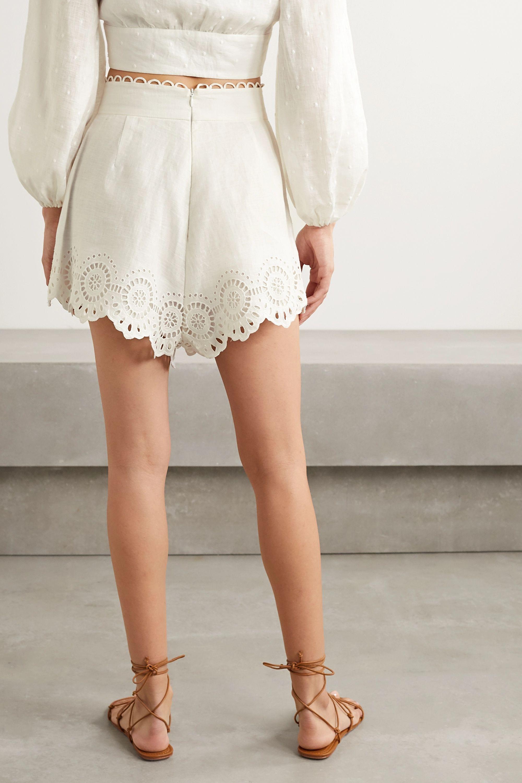 Zimmermann Bellitude scalloped broderie anglaise linen shorts