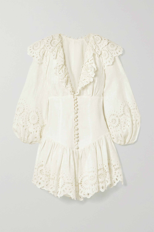 Zimmermann Mini-robe en lin plumetis et en broderie anglaise à volants Bellitude