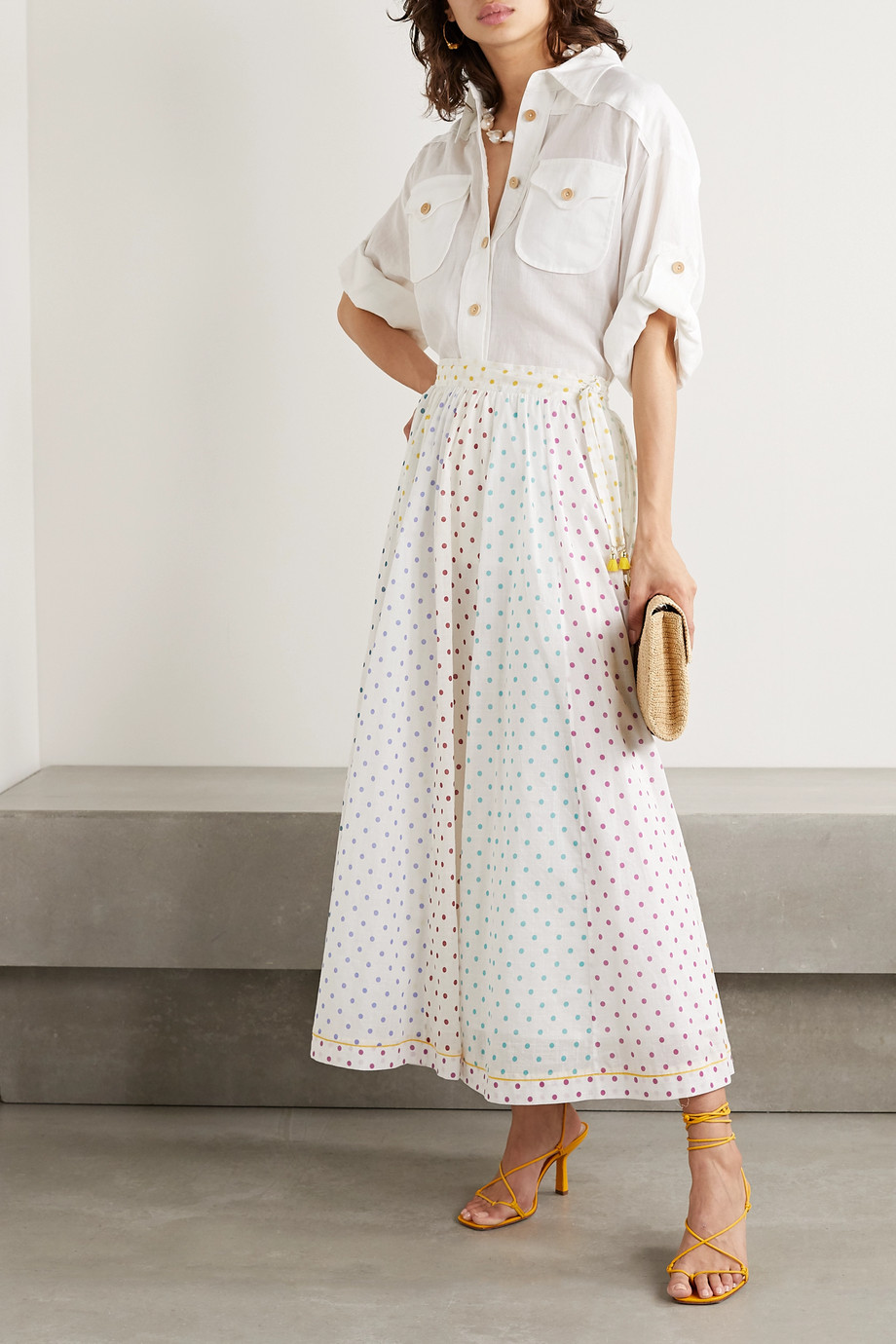 Zimmermann Bellitude tasseled paneled polka-dot cotton-voile midi skirt