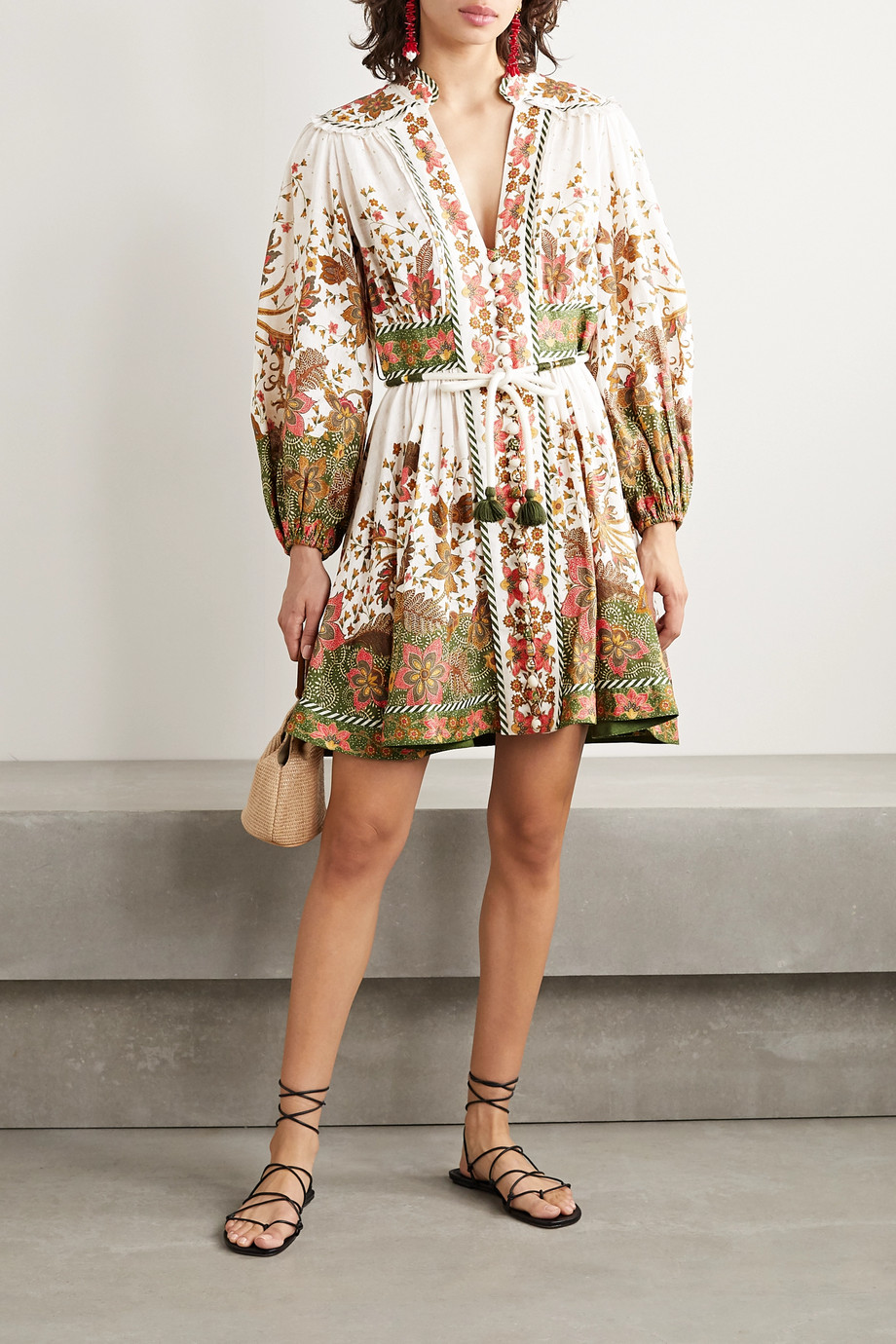 Zimmermann Empire belted printed linen mini dress