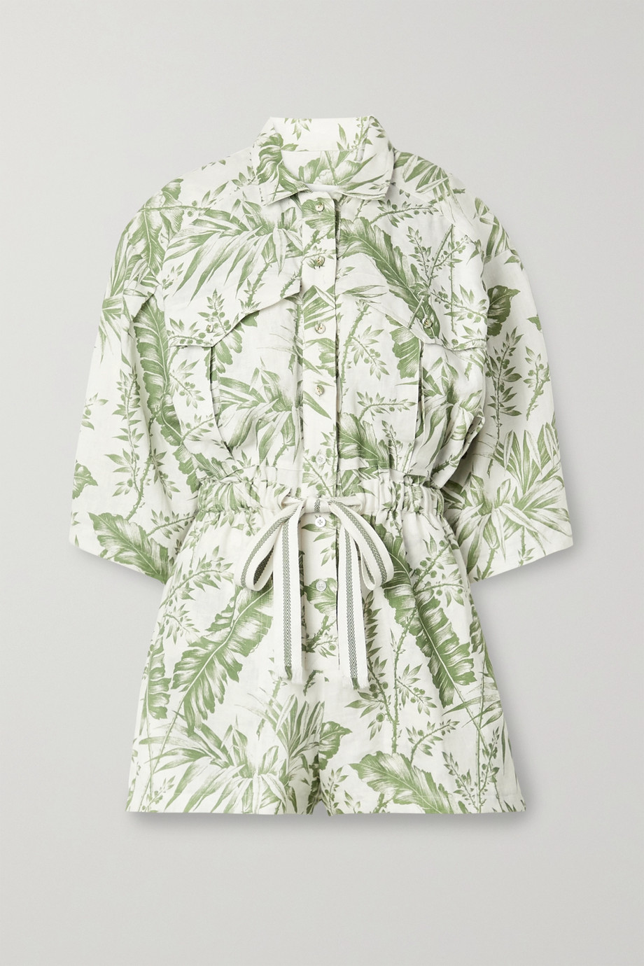 Zimmermann Empire printed linen playsuit