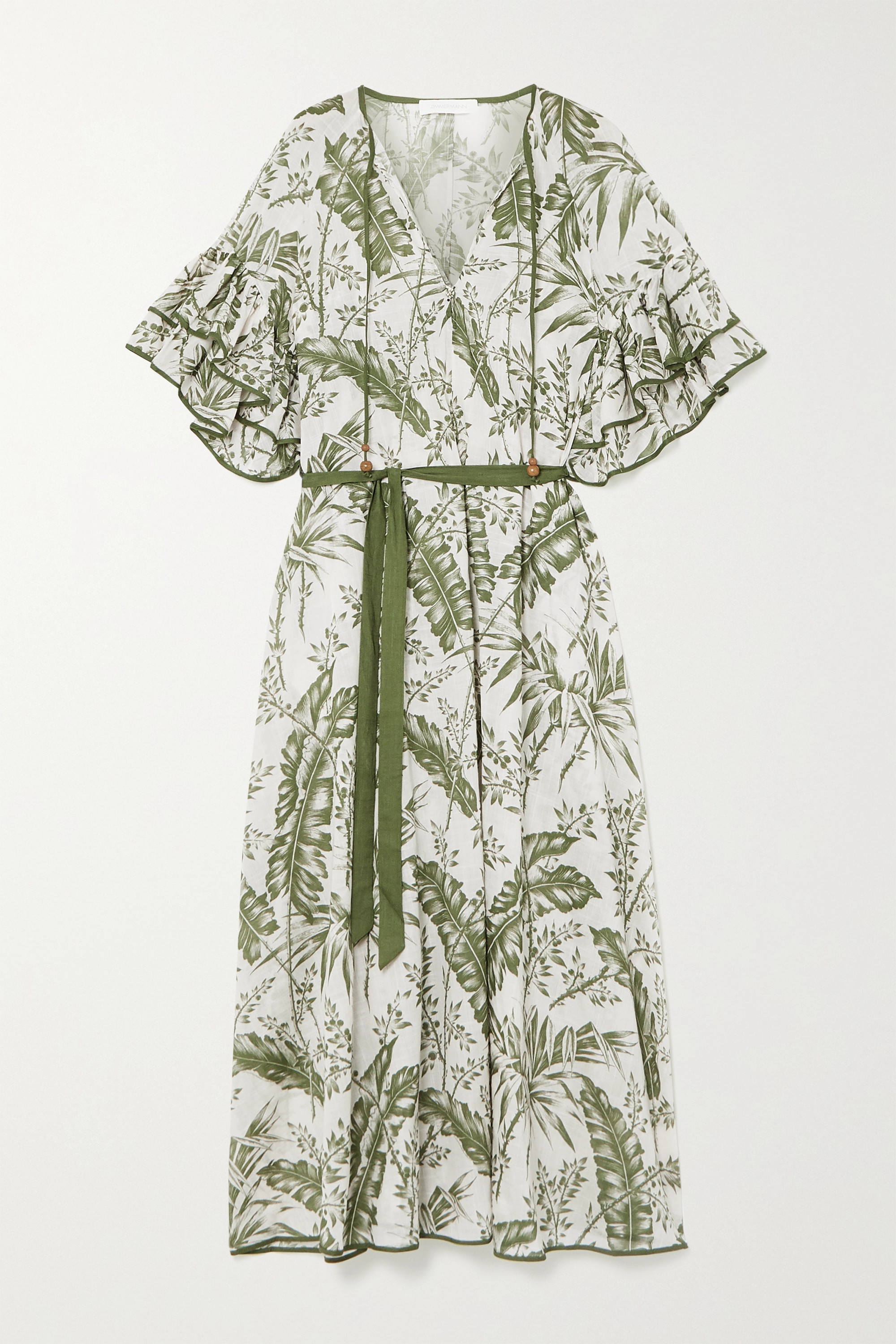 Zimmermann Empire belted ruffled printed cotton-voile midi dress