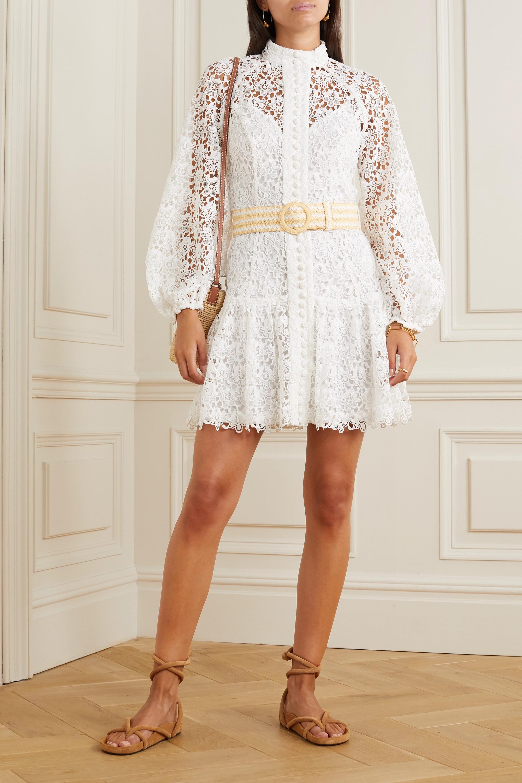 Zimmermann Mini-robe en dentelle guipure à boutons et à ceinture