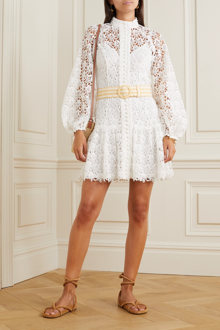Zimmermann Belted button-detailed guipure lace mini dress