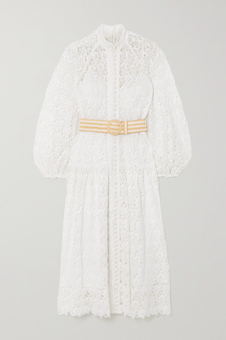 Ivory Belted button-detailed guipure lace midi dress   Zimmermann AwtLIa