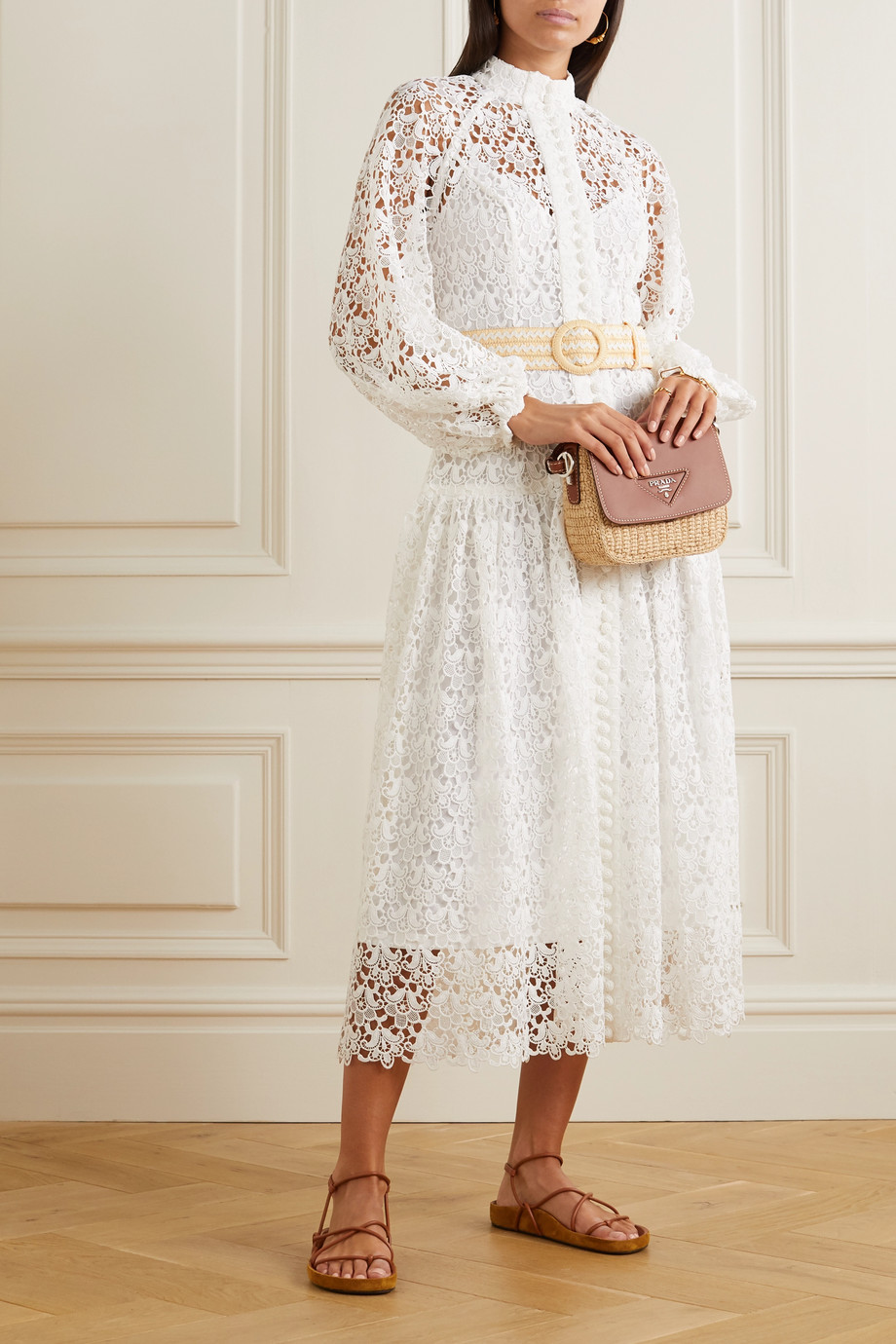 Zimmermann Belted button-detailed guipure lace midi dress
