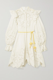 Zimmermann Carnaby belted ruffled broderie anglaise-trimmed linen mini dress