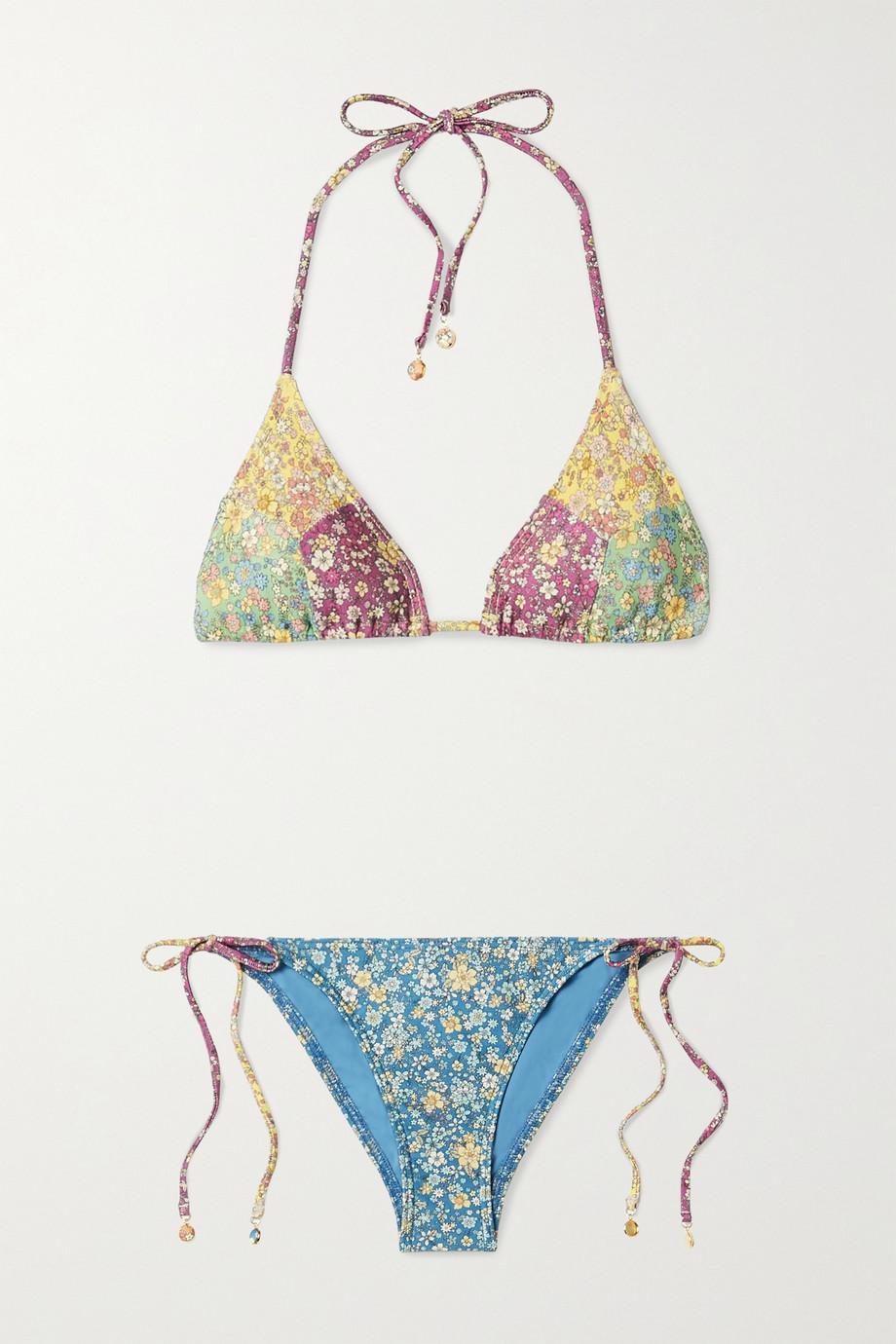 Zimmermann Carnaby floral-print triangle bikini