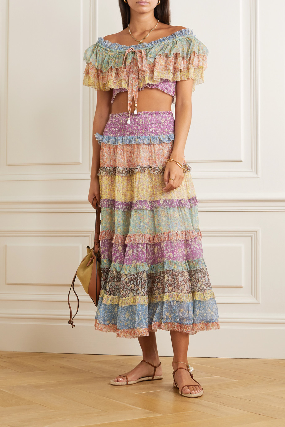 Zimmermann Carnaby ruffled floral-print silk-chiffon maxi skirt