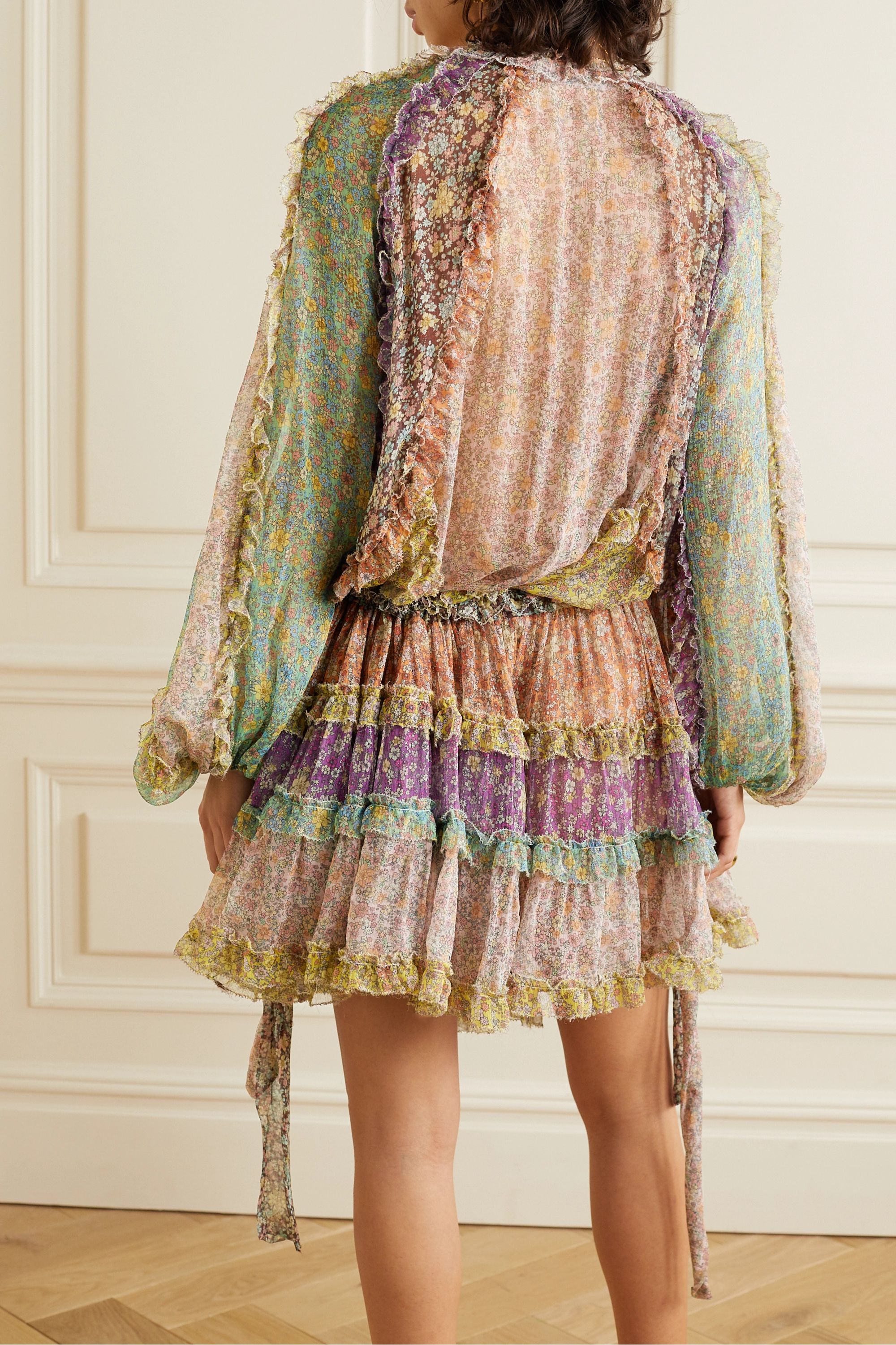Zimmermann Carnaby ruffled tiered floral-print silk crepe de chine mini dress