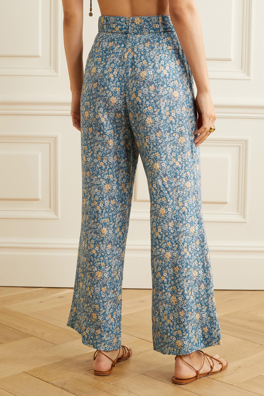 Zimmermann Pantalon évasé raccourci en lin à imprimé fleuri et à ceinture Carnaby