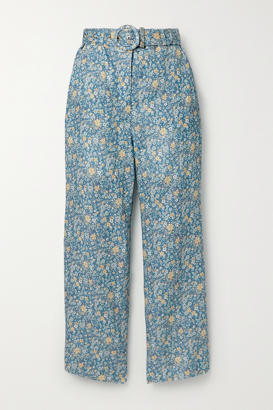 Zimmermann Carnaby belted cropped floral-print linen flared pants