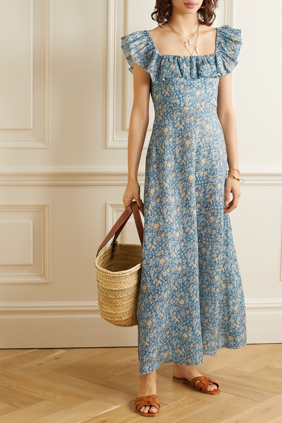 Zimmermann Carnaby ruffled floral-print linen maxi dress