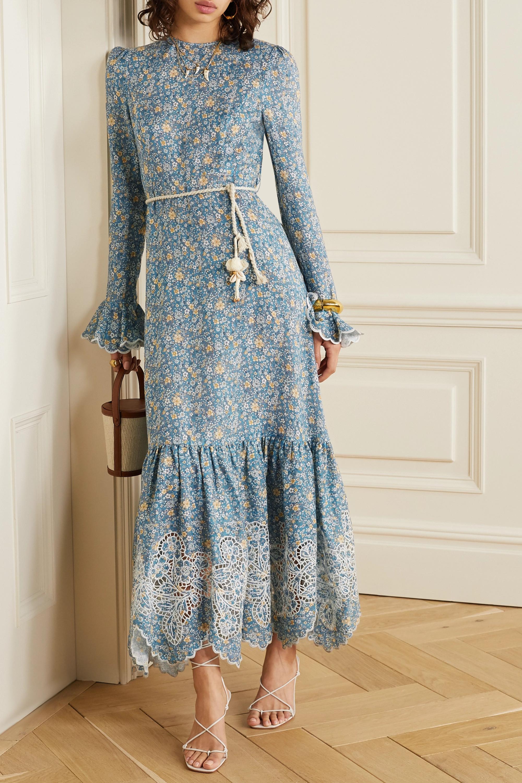 Zimmermann Robe midi en lin à imprimé fleuri, finitions en broderie anglaise et ceinture Carnaby