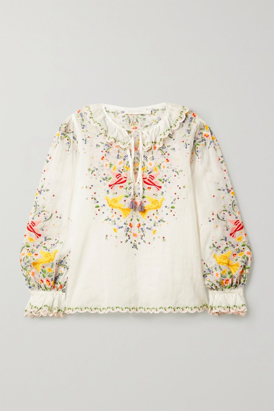 Zimmermann Carnaby embroidered ramie top