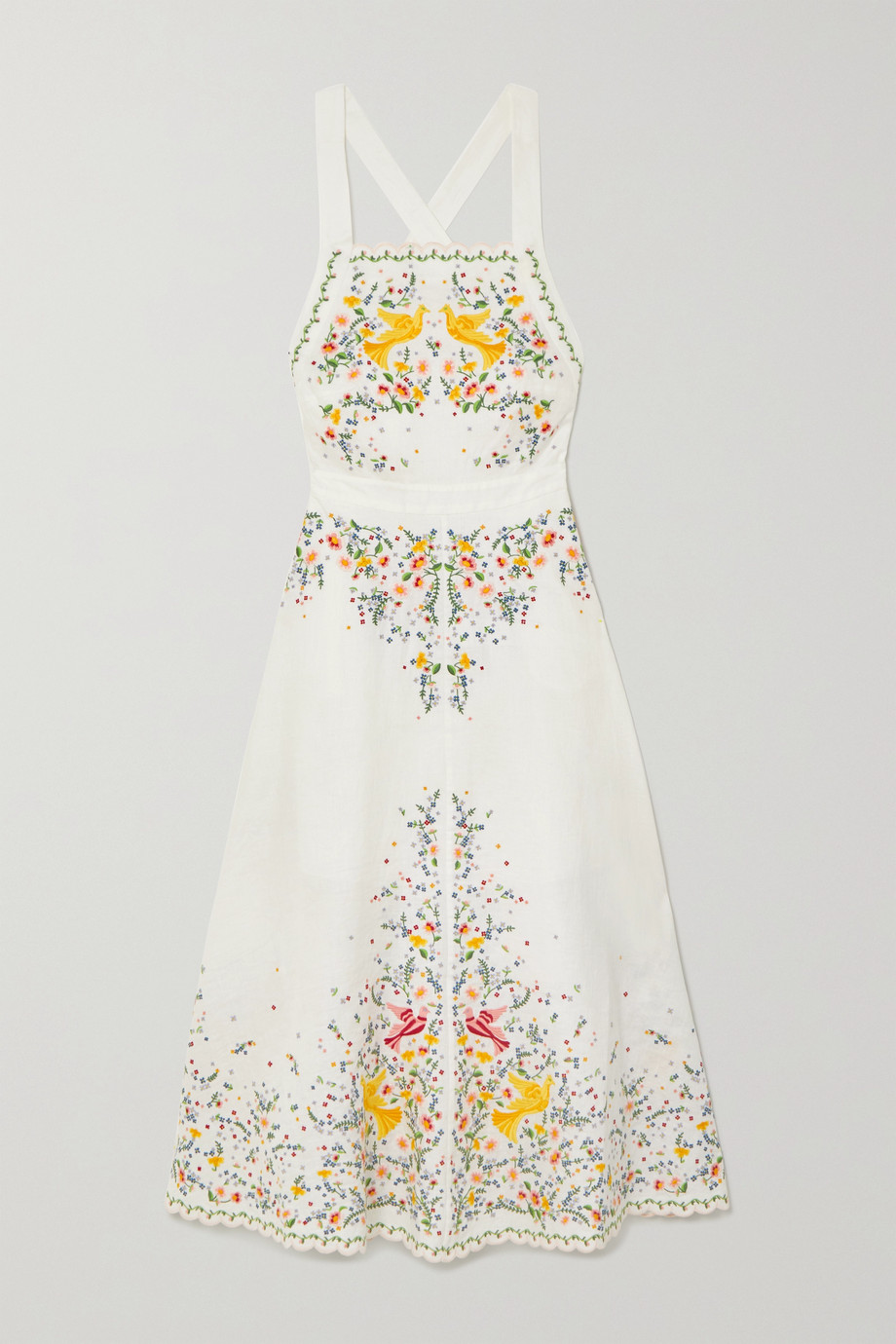 Zimmermann Carnaby embroidered linen midi dress