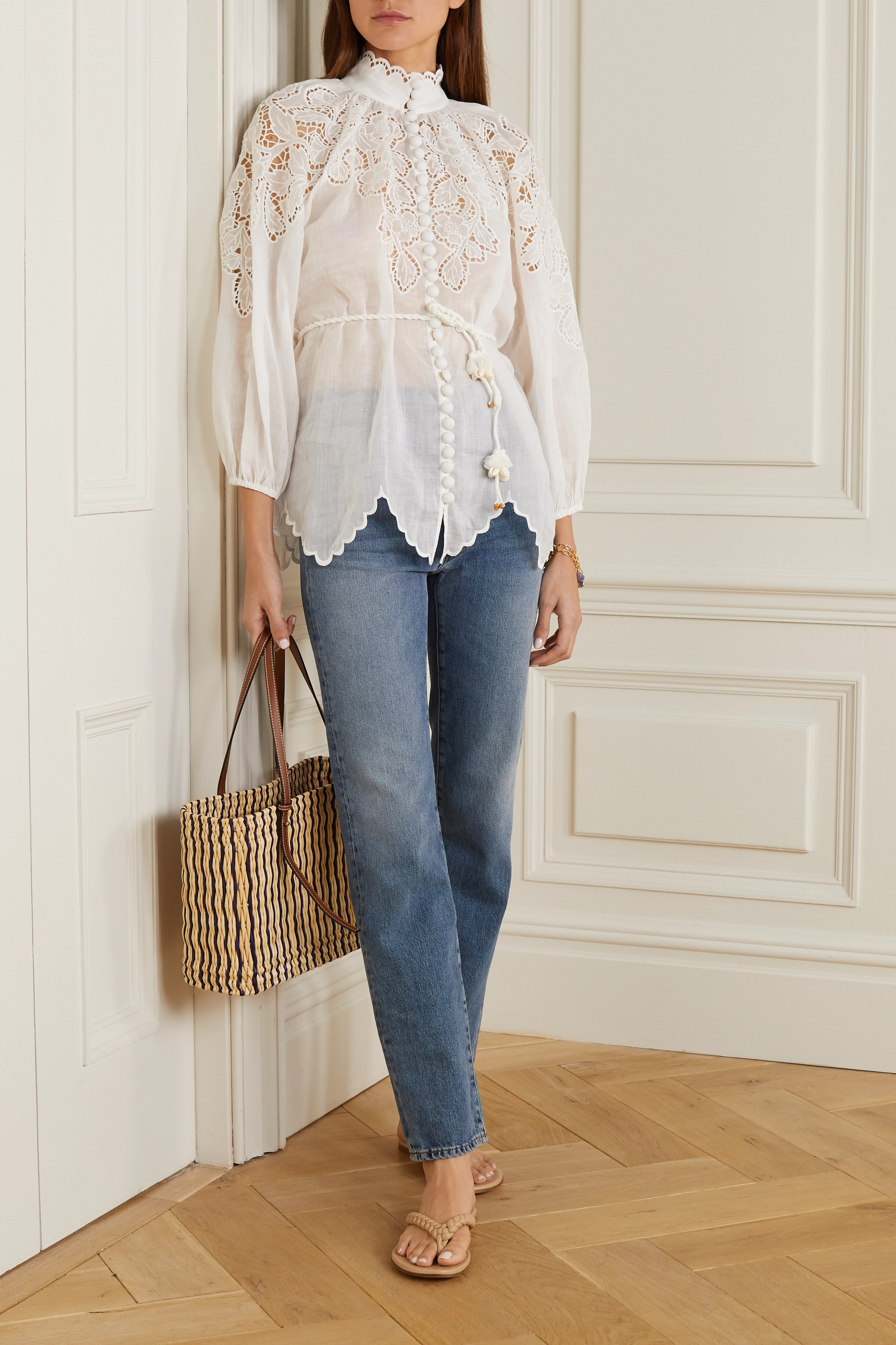 Zimmermann Carnaby belted broderie anglaise ramie blouse