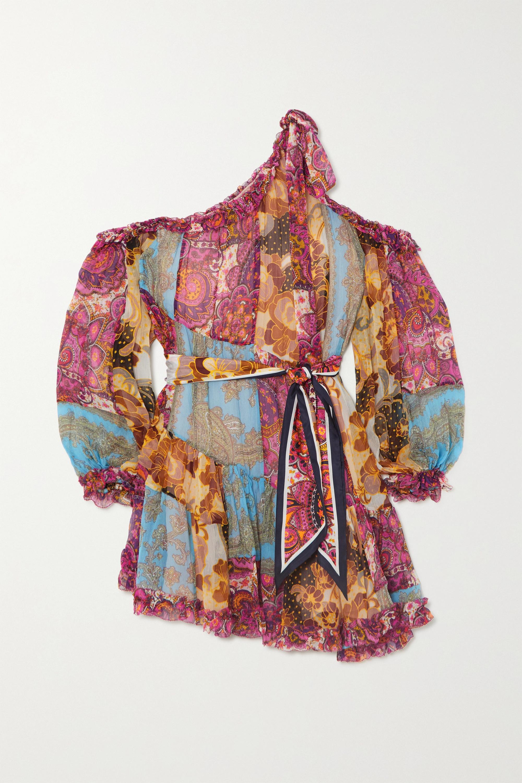 Zimmermann Mini-robe asymétrique en mousseline de soie à imprimé cachemire Fiesta