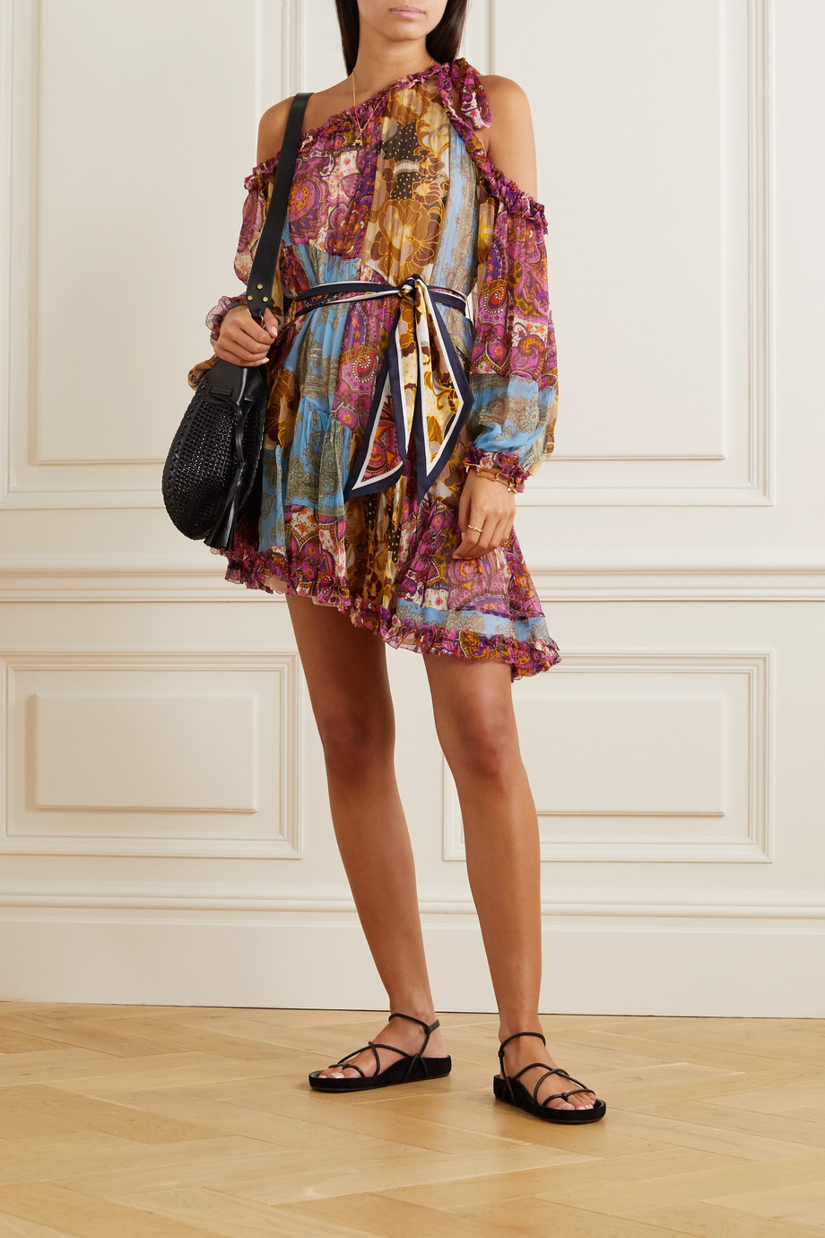 Zimmermann Fiesta one-shoulder paisley-print silk-chiffon mini dress
