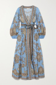 Zimmermann Fiesta belted paisley-print linen wrap maxi dress