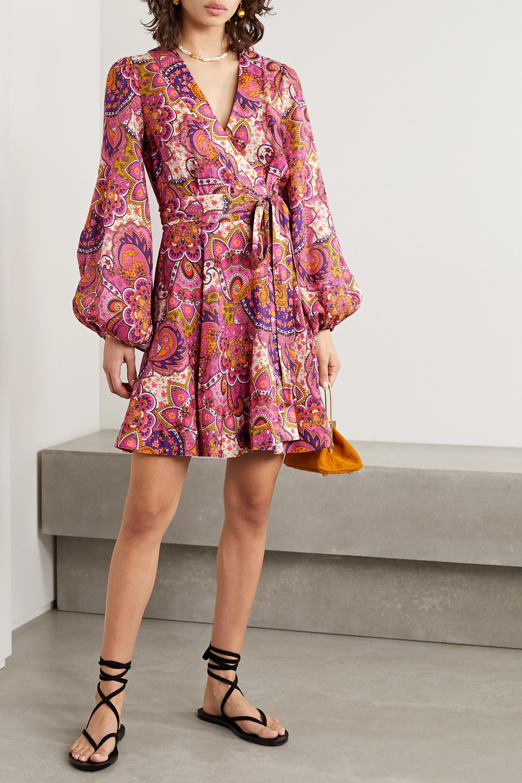 Zimmermann Mini-robe portefeuille en lin à imprimé cachemire Fiesta