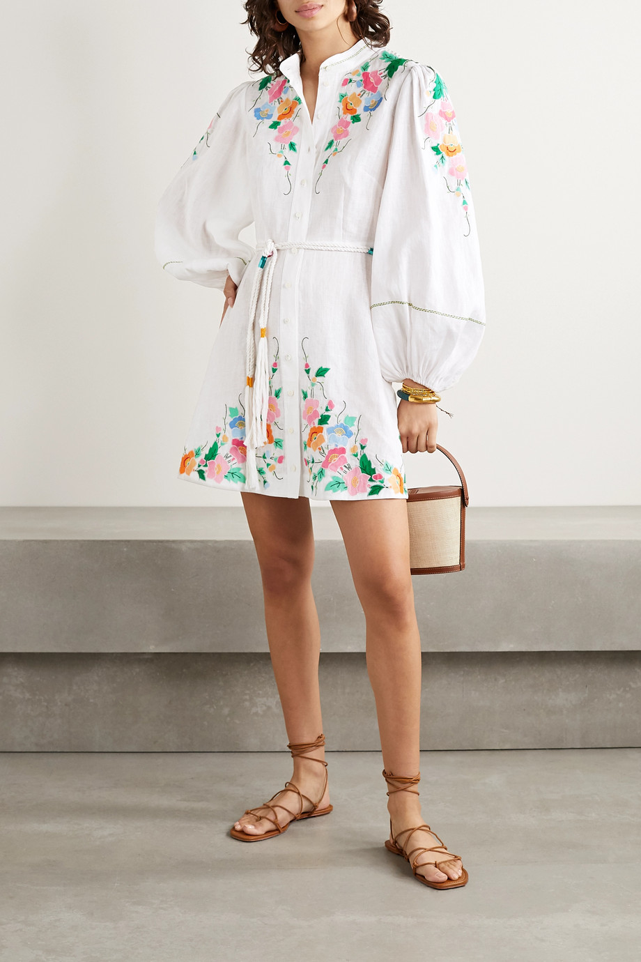 Zimmermann Fiesta belted embroidered linen mini dress