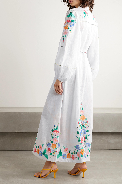 Zimmermann Fiesta belted embroidered linen maxi dress