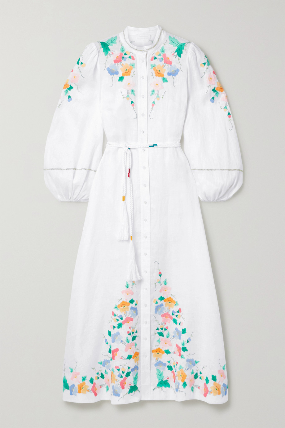 Zimmermann Fiesta belted embroidered linen maxi dress