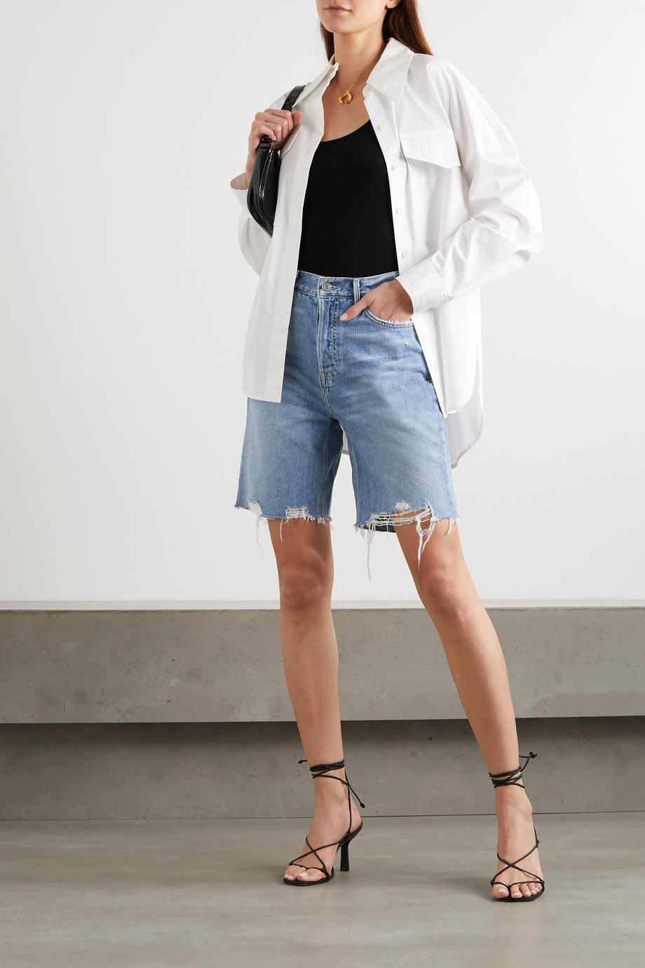 GRLFRND Marjan Jeansshorts in Distressed-Optik
