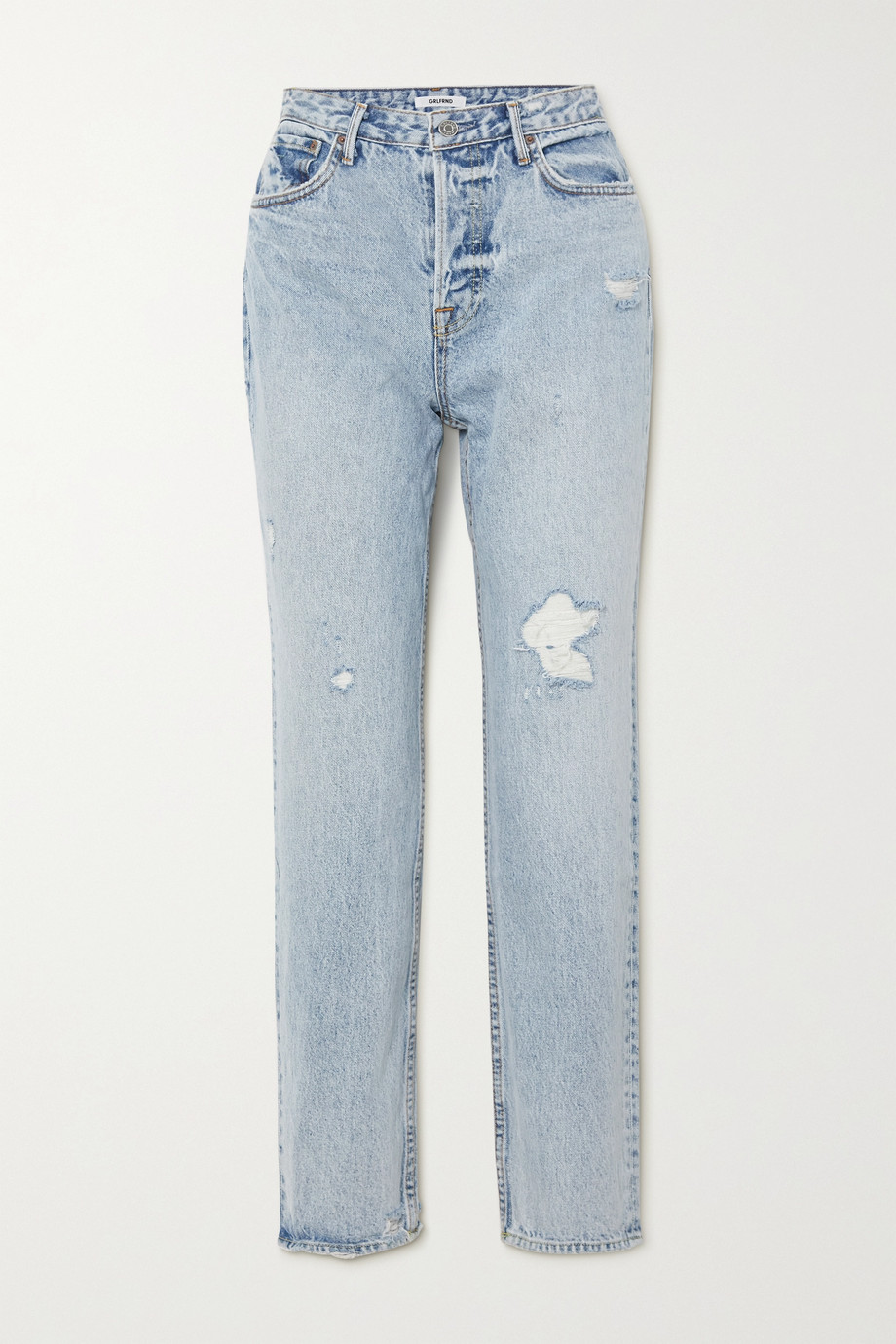 GRLFRND Devon distressed high-rise straight-leg jeans