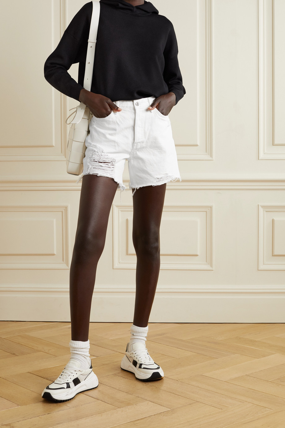 GRLFRND Jourdan frayed denim shorts