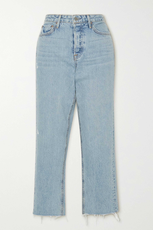 GRLFRND Helena frayed high-rise straight-leg jeans