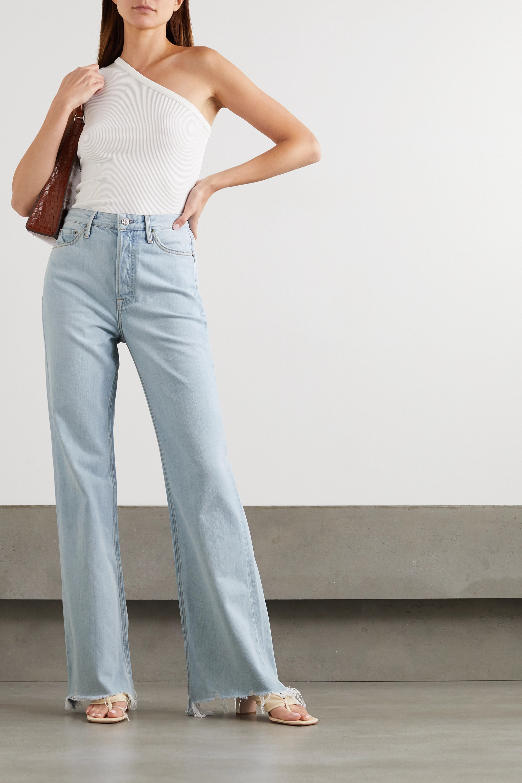 GRLFRND Carla distressed high-rise straight-leg jeans