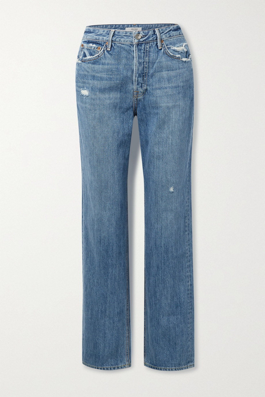GRLFRND Mica distressed high-rise straight-leg jeans