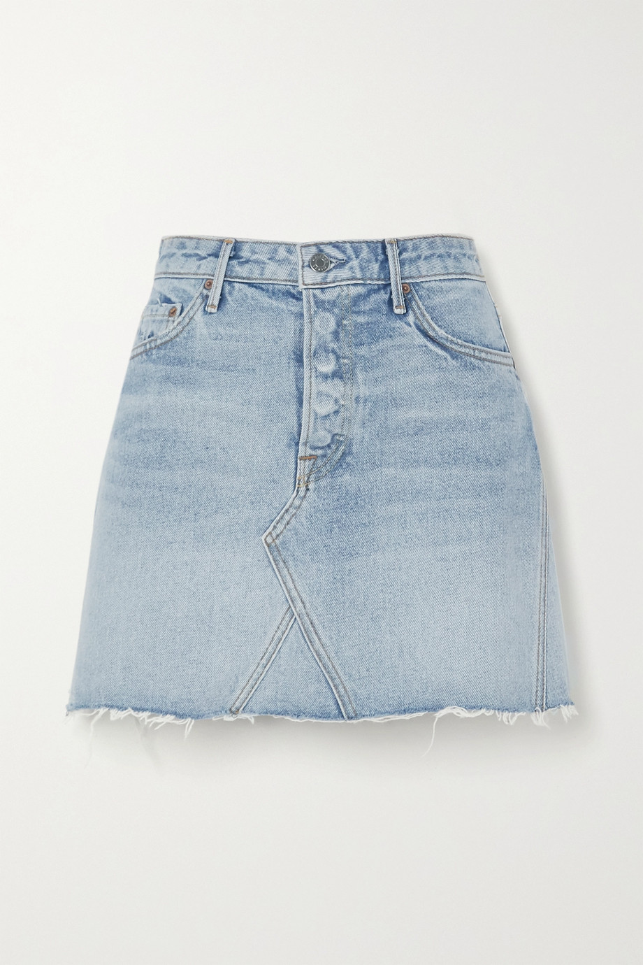 GRLFRND Eva frayed denim mini skirt