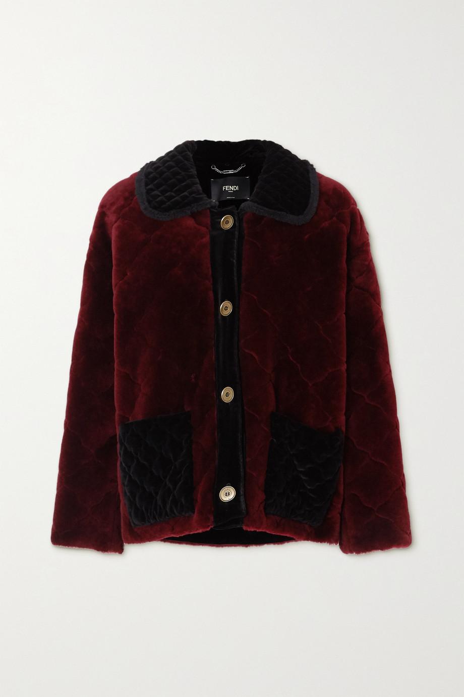 Fendi Manteau en peau lainée matelassée à finitions en velours et à volants