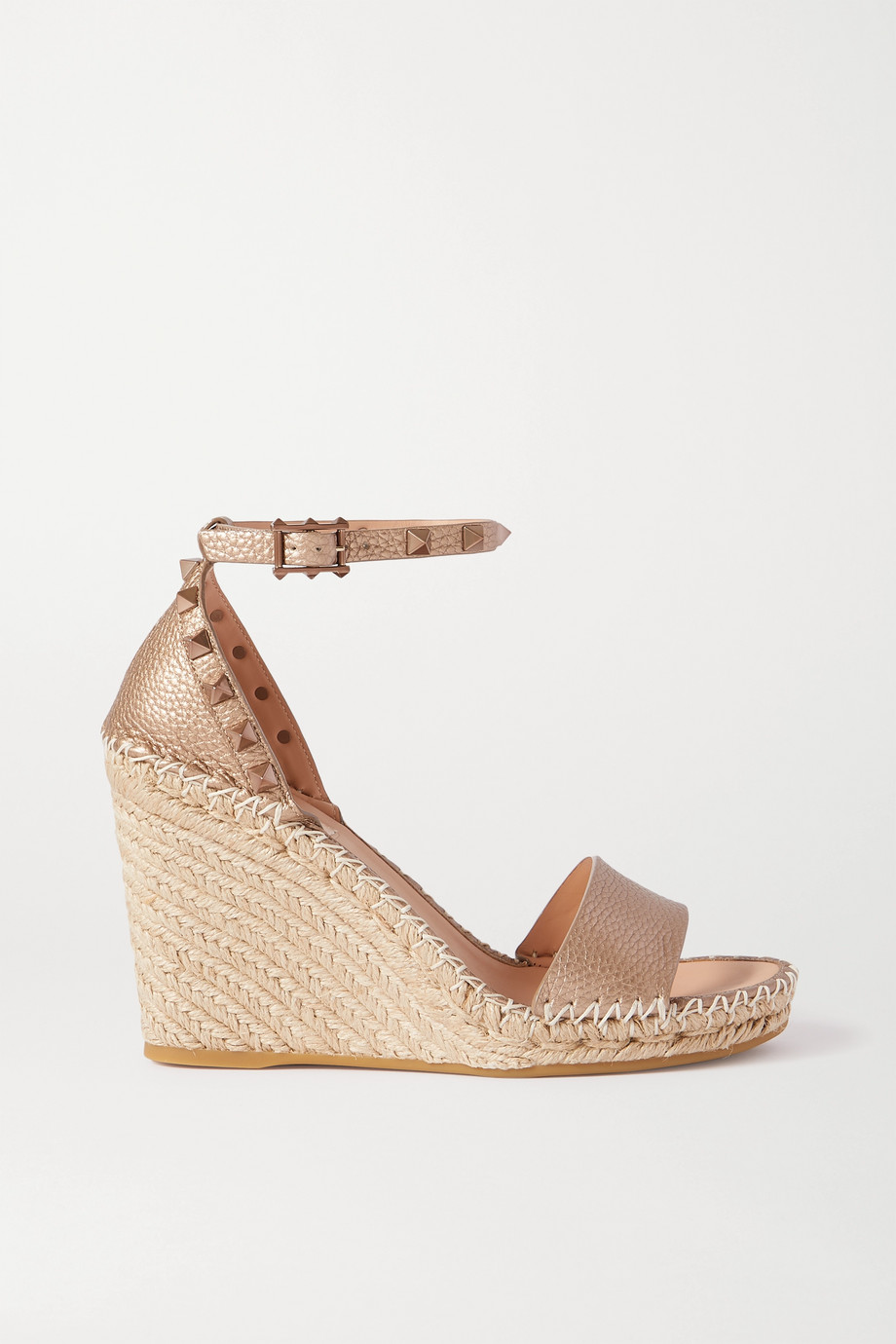 Valentino Valentino Garavani Rockstud 105 metallic textured-leather wedge espadrilles